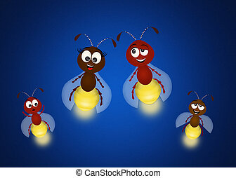 family of fireflies - illustration of fireflies family