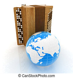 Musical instrument - retro bayan and Earth