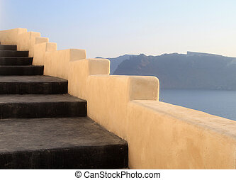 Beautiful grey and yellow unique steps and Aegean sea in...