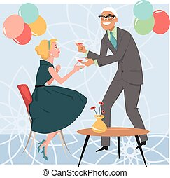 Cocktail party - Man bringing a cocktail to a woman at a...