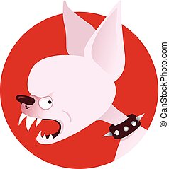Angry dog - Snarling cartoon chihuahua head in a spiked...