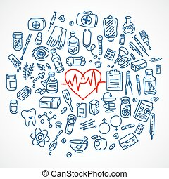 Health care doodle icons background - Health care doodle...