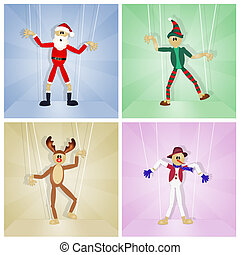 Christmas friends puppets