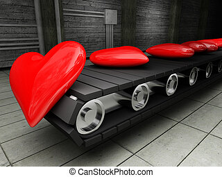 factory of love - 3d image of red hearts on Conveyor belt...