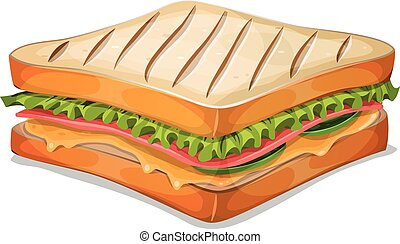 French Sandwich Icon - Illustration of an appetizing cartoon...