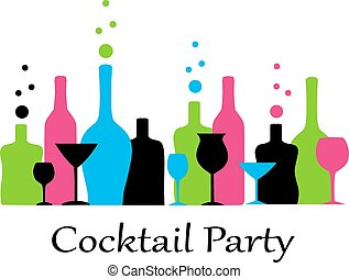 cocktail party - bright colorful bottles and glasses stand...