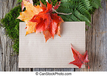 Paper for inscription with foliage - Paper decoration Place...