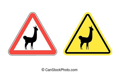 Warning sign attention Lama Hazard yellow sign wild animal...