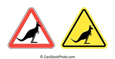 Warning sign of attention Kangaroo. Hazard yellow sign jumping marsupials. Silhouette Australian beast on red triangle. Set  Road signs.