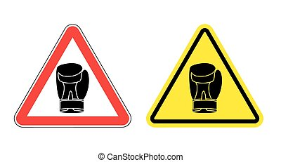 Warning sign attention Boxer. Hazard yellow sign fighters. Silhouette boxing glove on red triangle. Set Road signs.