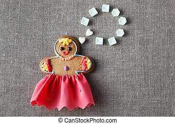 Mariage concept Gingerbread girl with wedding dream -...