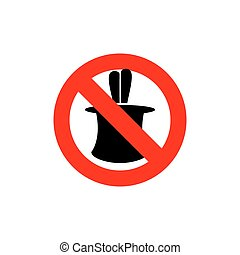 Stop tricks. Ban  to do magic tricks. Frozen cylinder with Hare. Red forbidden sign.