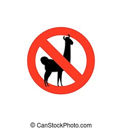 Stop Lama. Alpaca Lama is forbidden. Frozen wild animal. Red...