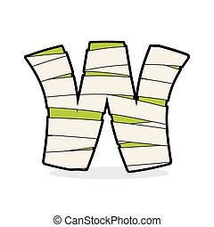 Letter W Mummy Typography icon in bandages Horrible Egyptian...