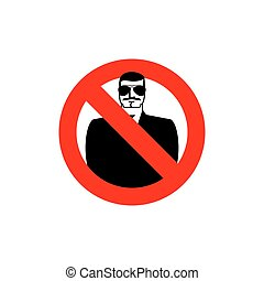 Stop spy. Forbidden secret agent. Frozen man in sunglasses. Red forbidden sign. Ban Scout