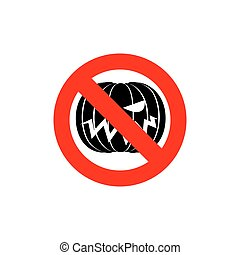 Stop Halloween. It is forbidden to celebrate the dreaded holiday. Frozen pumpkin. Red forbidden sign. Ban Terrible vegetables.