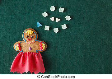 Mariage concept. Gingerbread girl with wedding dream -...