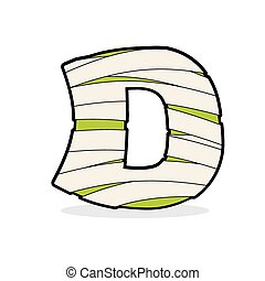 Letter D Mummy. Typography icon in bandages. Egyptian zombie template elements alphabet. ABC concept type as logotype.