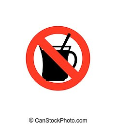 Stop coffee. It is forbidden to drink morning cup. Frozen drink tea. Red forbidden sign. Ban drinks