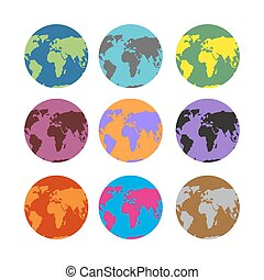 Set of color atlases. Multicolored map of Earth. World continents on ocean.