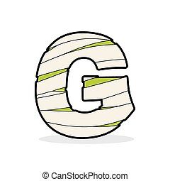 Letter G Mummy Typography icon in bandages Egyptian zombie...