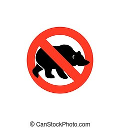 Stop bear. Banned wild animal. Animal silhouette frozen...