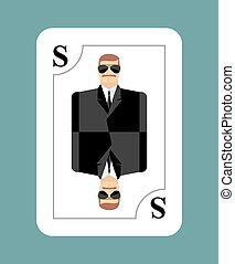 Playing card secret agent, Scout, spy. Conceptual new card people in costume. During game, learn hidden playing card.