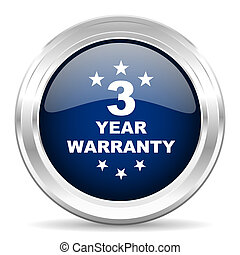 warranty guarantee 3 year cirle glossy dark blue web icon on...