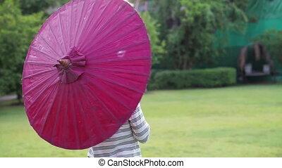 oriental red umbrella asian girl