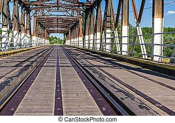Old railway bridge, made of wood and steel - Combined bridge...