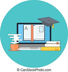 Distance education, online learning concept. Flat design.