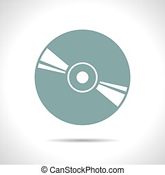 Compact disc icon - Vector flat color compact disc icon on...