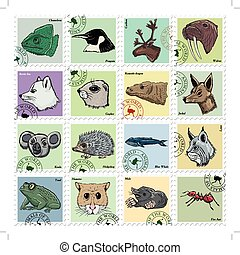 set of vector stamps with different animals - animal stamps...