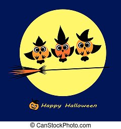 Witch caudron - Owls in witch costumes make witchcraft - one...