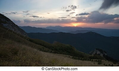 Caucasus Mountains at sunset