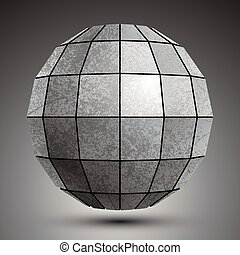 Zinc facet dimensional globe created with squares, grunge...