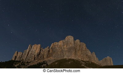 Mountain Big Thach under the starry sky Adygea, Russia