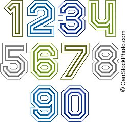 Large colorful regular acute-angled digits, bright vector...