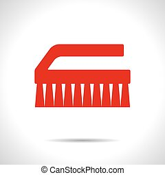 Cleaning brush - Vector flat color cleaning brush icon on...