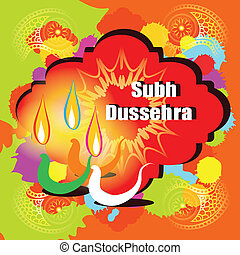 Dussehra vector greeting card - Subh Dussehra Happy Dussehra...