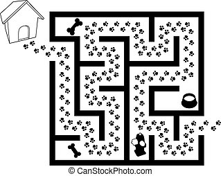 Maze Puzzle of Pet Puppy Dog Paw Prints Trail in black and...