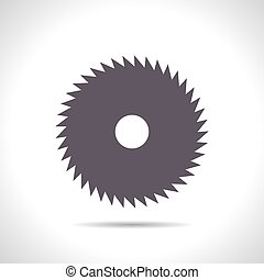 Circular Saw - Vector flat color circular saw icon on white...