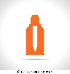 Vector flat bottle - Vector flat color dropper bottle on...