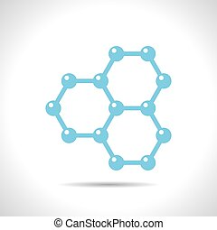 Graphene icon - Vector flat color graphene icon on white...