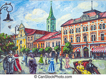 oil painting old church in the city of Uzhgorod with people