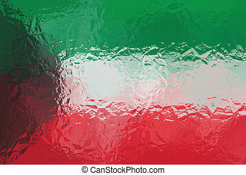 Kuwait flag - triangular polygonal pattern of crumpled shiny...