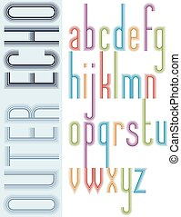 Poster bright echo condensed font, striped compact light...