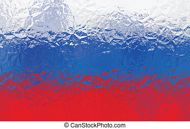 Russian flag - triangular polygonal pattern of crumpled...