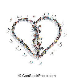 group people shape broken heart - A group of people in the...