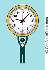 Abstract Businessman holding Time. Vector illustration of...